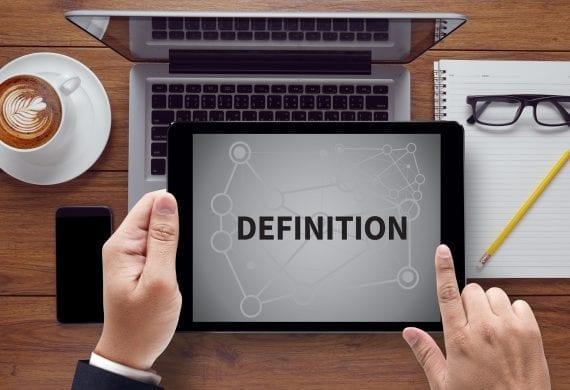 """Schriftzug """"Definition"""" auf Tablet"""